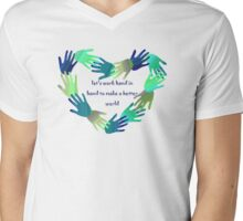 let's work hand in hand ... Mens V-Neck T-Shirt