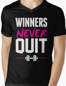 WINNERS NEVER QUIT Mens V-Neck T-Shirt