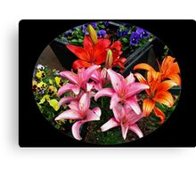 Colourful Lilies and Pansies - Oval Vignette Canvas Print