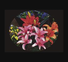Colourful Lilies and Pansies - Oval Vignette T-Shirt
