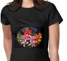 Colourful Lilies and Pansies - Oval Vignette Womens Fitted T-Shirt