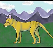 Thylacine and Mountains by Nicole Czanderna