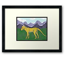 Thylacine and Mountains Framed Print