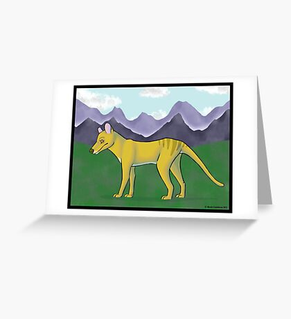 Thylacine and Mountains Greeting Card