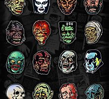 Horror Movie Monster Masks (color) by Scott Jackson