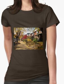 Urban Autumn Colorful Scene Womens Fitted T-Shirt