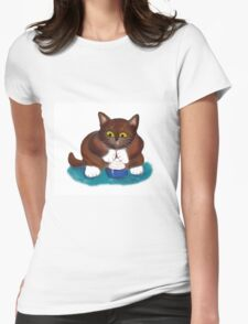 Kitten Finds Ice Cream  Womens Fitted T-Shirt