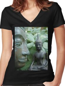 Budda in Nature Women's Fitted V-Neck T-Shirt