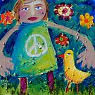 OLIVIA AND THE LOVEBIRD AMONG THE FLOWERS by ART PRINTS ONLINE         by artist SARA  CATENA