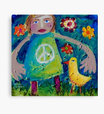OLIVIA AND THE LOVEBIRD AMONG THE FLOWERS Canvas Print