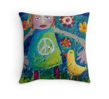 OLIVIA AND THE LOVEBIRD AMONG THE FLOWERS Throw Pillow