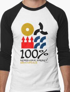 100 renewable energy greenpeace Funny geek Nerd Men's Baseball ¾ T-Shirt