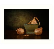Shallots In A Pottery Bowl Art Print
