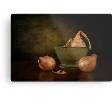 Shallots In A Pottery Bowl Metal Print