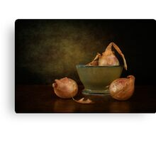Shallots In A Pottery Bowl Canvas Print
