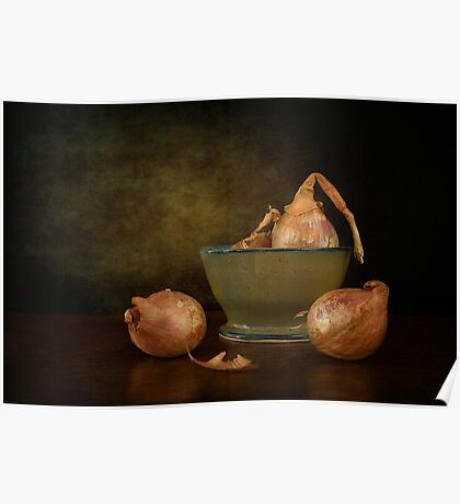Shallots In A Pottery Bowl Poster