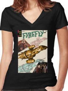Firefly Vintage Comics Cover (Serenity) Women's Fitted V-Neck T-Shirt