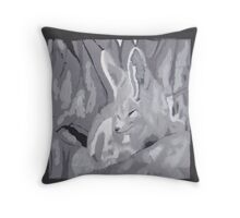 Grey Scale Fennec Fox Throw Pillow