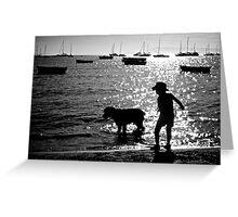 Spud, Senae, Sand, Sun, Sea silhouette 2 Greeting Card