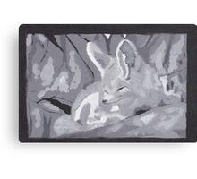 Grey Scale Fennec Fox Canvas Print