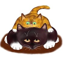 Tiger Kitten sits on Tuxedo Cat by NineLivesStudio