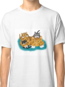Three Kittens Pile on Momma Classic T-Shirt