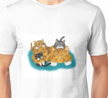 Three Kittens Pile on Momma Unisex T-Shirt