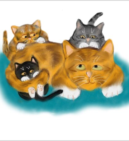 Three Kittens Pile on Momma Sticker