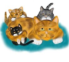 Three Kittens Pile on Momma by NineLivesStudio