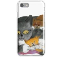 Momma  Cat and her Two Kittens iPhone Case/Skin