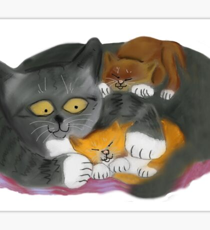 Momma  Cat and her Two Kittens Sticker