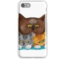 Momma Cat Baths her Two Kittens iPhone Case/Skin