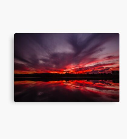 Fire and Water - Sunset at Regatta Waters Lake, Gold Coast Canvas Print
