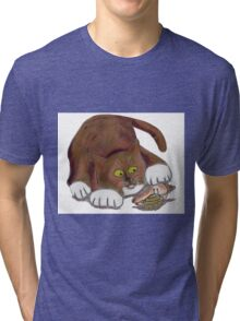 Hermit Crab and a Curious Cat Tri-blend T-Shirt