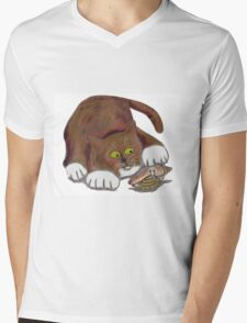 Hermit Crab and a Curious Cat Mens V-Neck T-Shirt