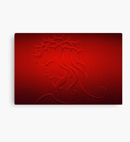 Jesus Christ Profile in Red Canvas Print