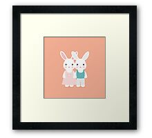 Cute rabbit love Framed Print