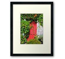 Red door, white wall, green vine Framed Print