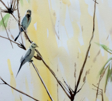 Finches in Bamboo Sticker