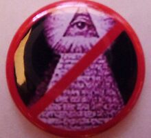 Anti New World Order Button Badge  by digitalmidgets