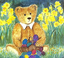 HAPPY EASTER-TEDDYBEAR WITH EGS IN BASKET - Watercolour-Design by RubaiDesign