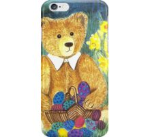HAPPY EASTER-TEDDYBEAR WITH EGS IN BASKET - Watercolour-Design iPhone Case/Skin