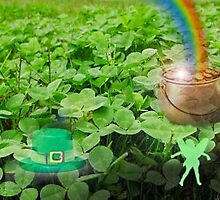Clover patch with pot of gold by happyphotos
