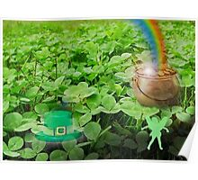 Clover patch with pot of gold Poster