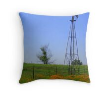 Hill Country Windmill in Spring Throw Pillow