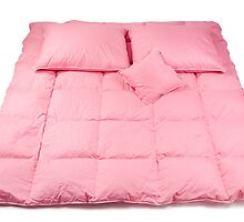 Pink cotton fluffy three pillows by Arletta Cwalina