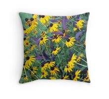 Coneflowers and Wandering Jew Throw Pillow