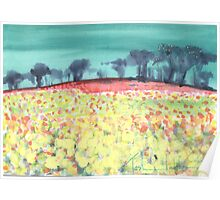 Field of spring flowers Poster