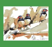 Zebra Finches on a branch Kids Clothes