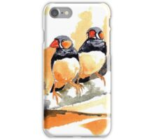 Zebra Finches on a branch iPhone Case/Skin